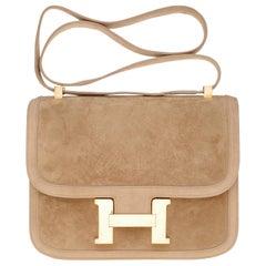 VERY RARE Hermes Constance  DOBLIS shoulder bag in sand color & Gold hardware!