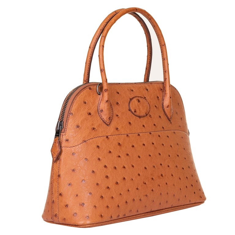 Orange Very Rare Hermes 'Mini Bolide' 25 - Miel Ostrich Leather with Ruthenium Hardware For Sale