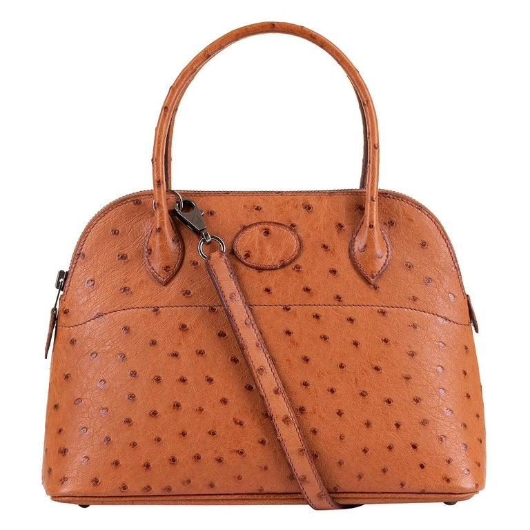 Very Rare Hermes 'Mini Bolide' 25 - Miel Ostrich Leather with Ruthenium Hardware For Sale