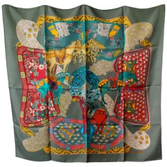 "Very Rare Hermes  Silk Scarf ""Art des Steppes"" by Annie Faivre, 1991"