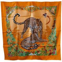 "Very Rare Hermes Silk Scarf ""Jungle Love"" by Robert Dallet, 2000"