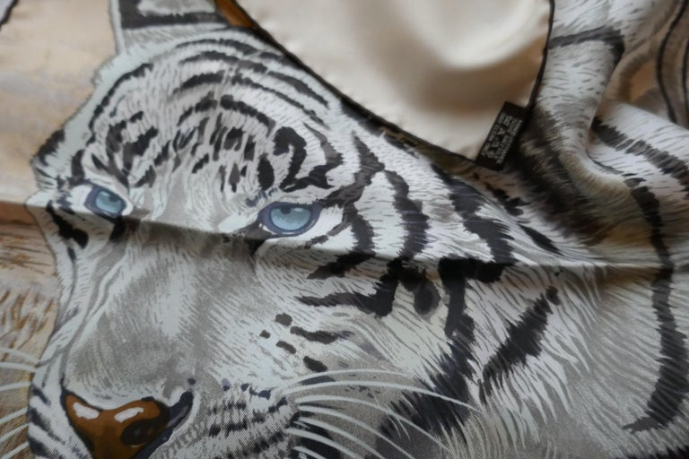 "Gray Very Rare Hermes Silk Scarf ""Le Tigre du Benagale"" by Robert Dallet For Sale"