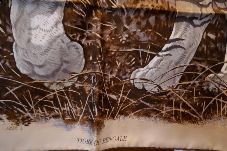 "Very Rare Hermes Silk Scarf ""Le Tigre du Benagale"" by Robert Dallet For Sale 4"