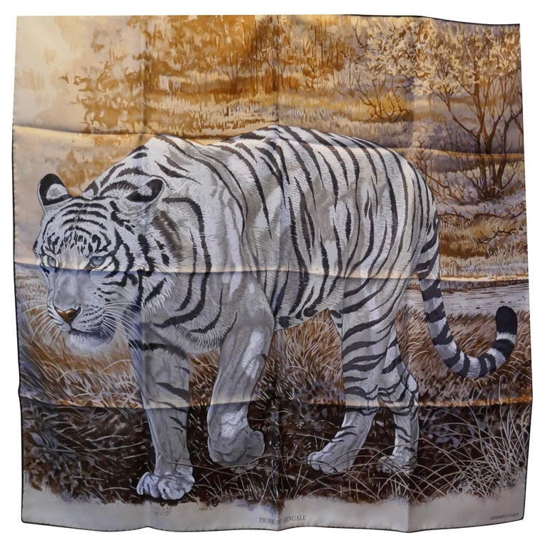 "Very Rare Hermes Silk Scarf ""Le Tigre du Benagale"" by Robert Dallet For Sale"