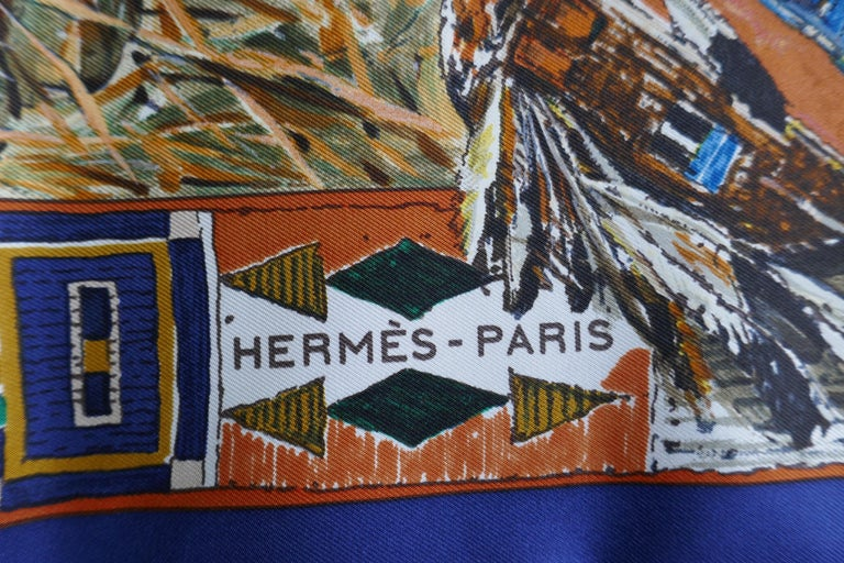 """Very Rare Hermes Silk Scarf """"Plumes de l'Ouest"""" by Kermit Oliver, 1993 For Sale 6"""