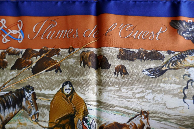 """Very Rare Hermes Silk Scarf """"Plumes de l'Ouest"""" by Kermit Oliver, 1993 For Sale 7"""