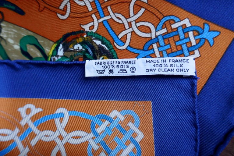 """Brown Very Rare Hermes Silk Scarf """"Plumes de l'Ouest"""" by Kermit Oliver, 1993 For Sale"""