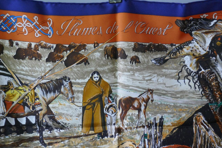 """Very Rare Hermes Silk Scarf """"Plumes de l'Ouest"""" by Kermit Oliver, 1993 In Good Condition For Sale In Chillerton, Isle of Wight"""