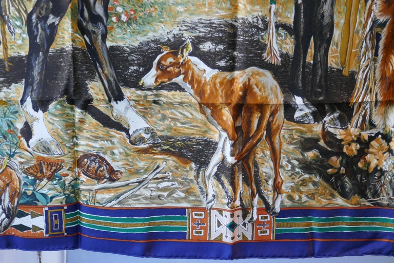"""Women's or Men's Very Rare Hermes Silk Scarf """"Plumes de l'Ouest"""" by Kermit Oliver, 1993 For Sale"""