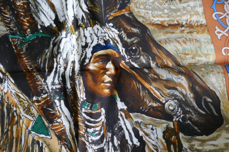 """Very Rare Hermes Silk Scarf """"Plumes de l'Ouest"""" by Kermit Oliver, 1993 For Sale 2"""