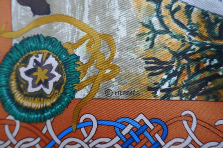 """Very Rare Hermes Silk Scarf """"Plumes de l'Ouest"""" by Kermit Oliver, 1993 For Sale 3"""