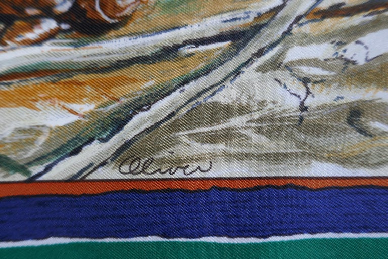"""Very Rare Hermes Silk Scarf """"Plumes de l'Ouest"""" by Kermit Oliver, 1993 For Sale 4"""