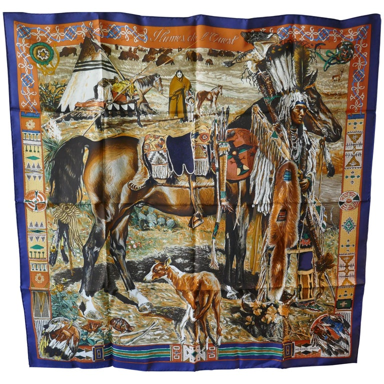 """Very Rare Hermes Silk Scarf """"Plumes de l'Ouest"""" by Kermit Oliver, 1993 For Sale"""