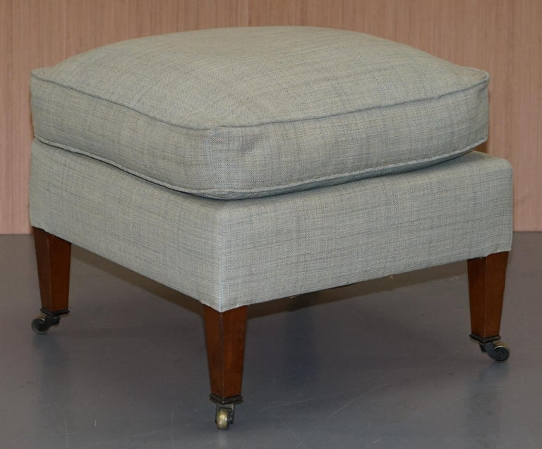 Very Rare Howard & Son's Fully Stamped Bridgewater Armchair & Footstool Ottoman For Sale 6