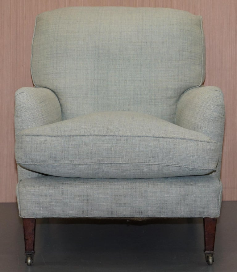 Victorian Very Rare Howard & Son's Fully Stamped Bridgewater Armchair & Footstool Ottoman For Sale