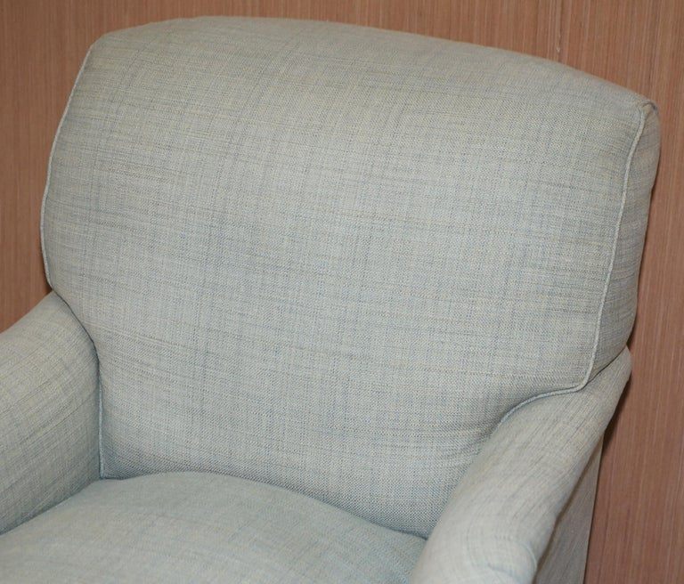 Hand-Crafted Very Rare Howard & Son's Fully Stamped Bridgewater Armchair & Footstool Ottoman For Sale