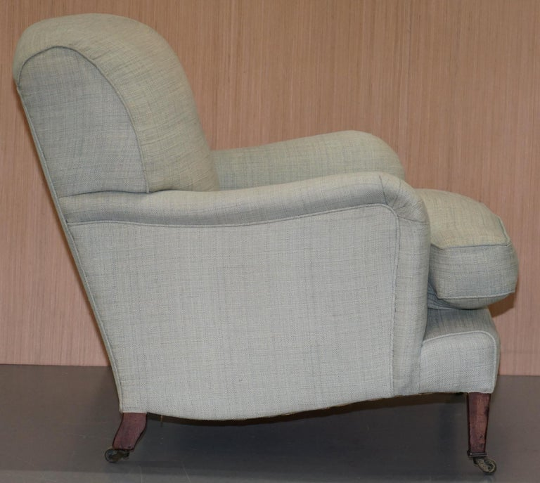 Walnut Very Rare Howard & Son's Fully Stamped Bridgewater Armchair & Footstool Ottoman For Sale