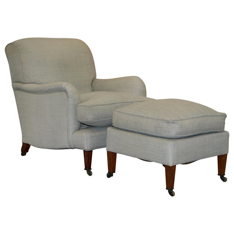 Very Rare Howard & Son's Fully Stamped Bridgewater Armchair & Footstool Ottoman For Sale