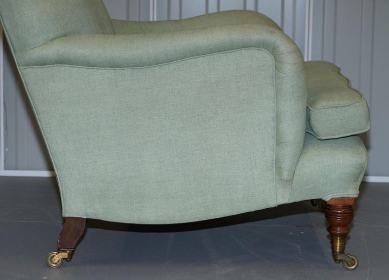 Very Rare Howard & Son's Fully Stamped Bridgewater Armchair Original Castors For Sale 3
