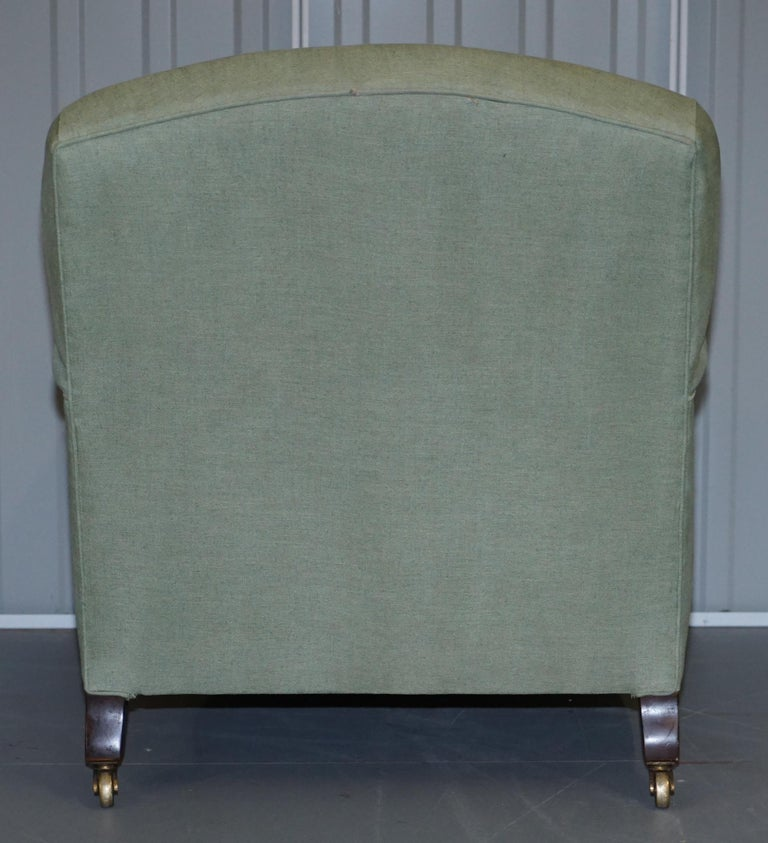 Very Rare Howard & Son's Fully Stamped Bridgewater Armchair Original Castors For Sale 4