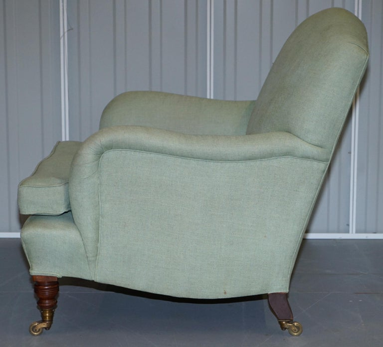 Very Rare Howard & Son's Fully Stamped Bridgewater Armchair Original Castors For Sale 5
