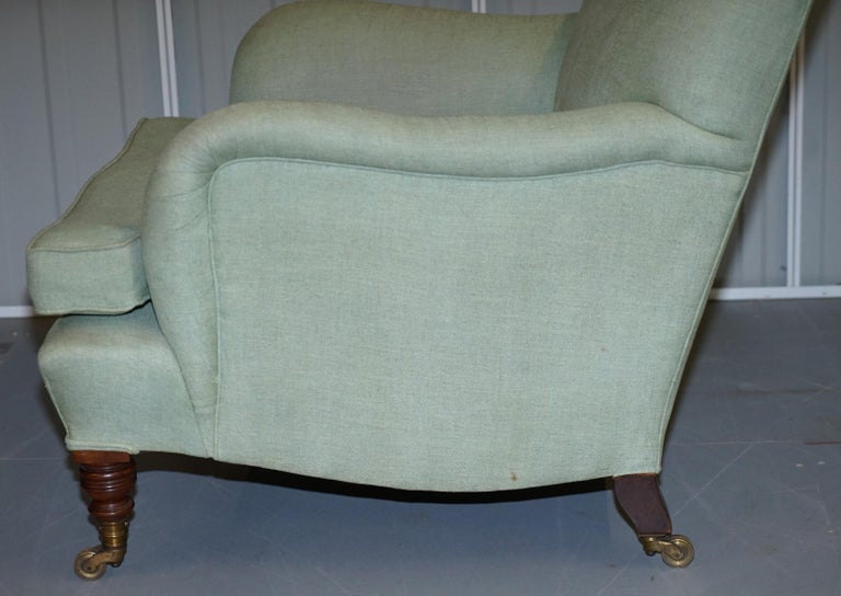 Very Rare Howard & Son's Fully Stamped Bridgewater Armchair Original Castors For Sale 6