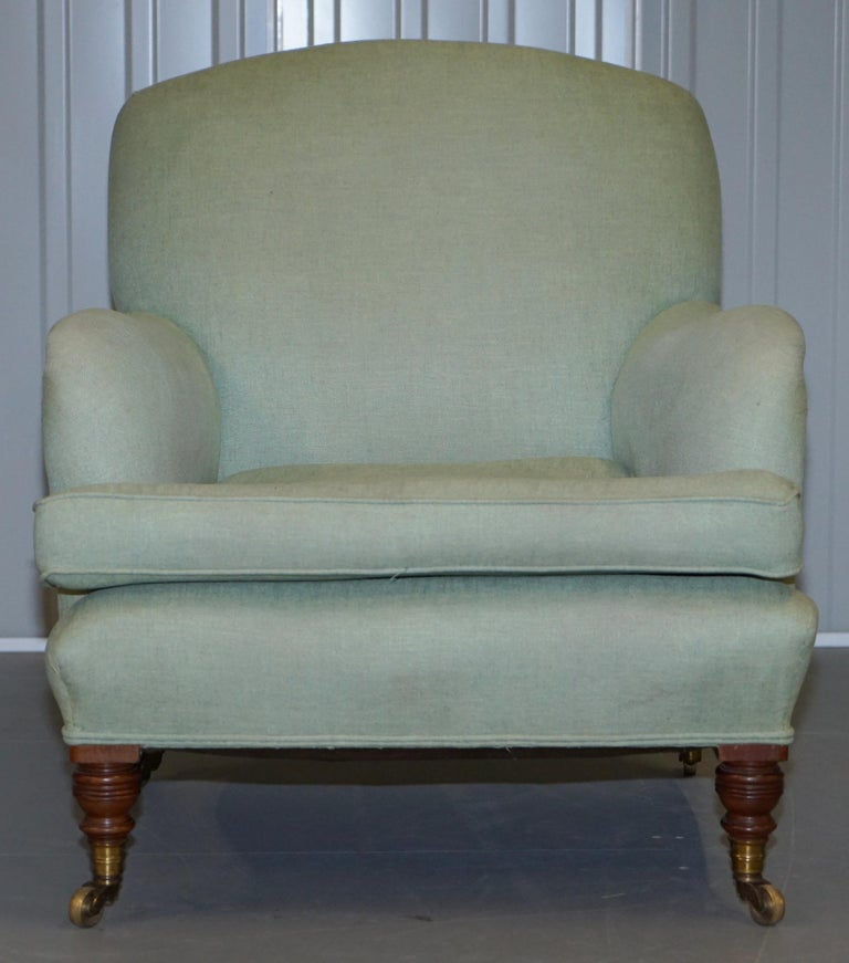 Victorian Very Rare Howard & Son's Fully Stamped Bridgewater Armchair Original Castors For Sale