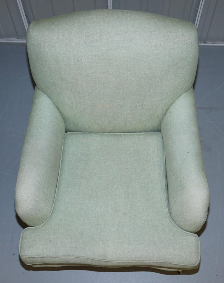Hand-Crafted Very Rare Howard & Son's Fully Stamped Bridgewater Armchair Original Castors For Sale