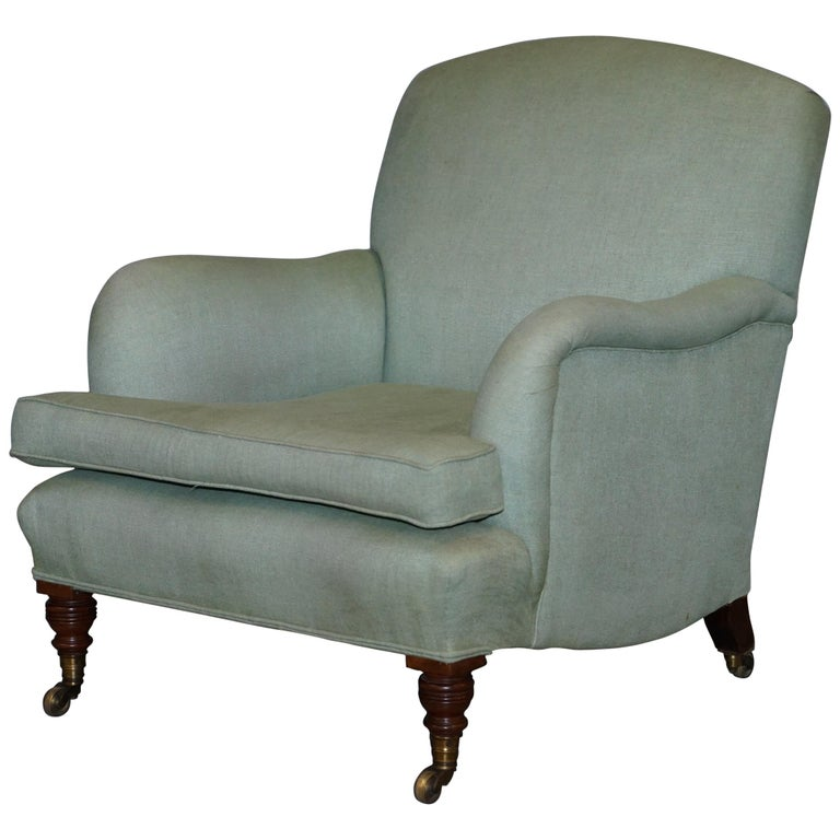 Very Rare Howard & Son's Fully Stamped Bridgewater Armchair Original Castors For Sale