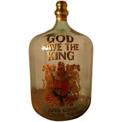 Very Rare Huge Glass Brandy/Rum Navy Grog Jar, Royal Appointment to the King