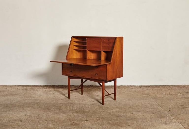 Swedish Very Rare Ib Kofod Larsen Secretary Desk / Bureau, PA Pedersen, 1954, Denmark For Sale