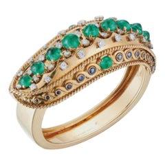 Very Rare Indian Influenced Cabochon Emerald Bangle Bracelet by Cartier, Paris