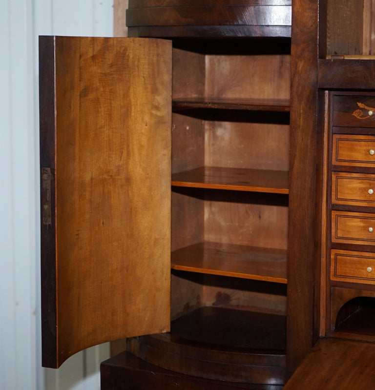 Very Rare Italian Mahogany Cylinder Bureau Bookcase Desk with Must See Pictures For Sale 4