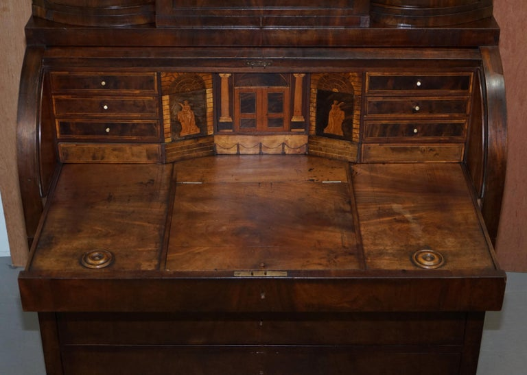 Very Rare Italian Mahogany Cylinder Bureau Bookcase Desk with Must See Pictures For Sale 6
