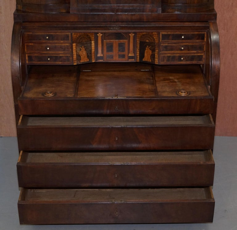 Very Rare Italian Mahogany Cylinder Bureau Bookcase Desk with Must See Pictures For Sale 10