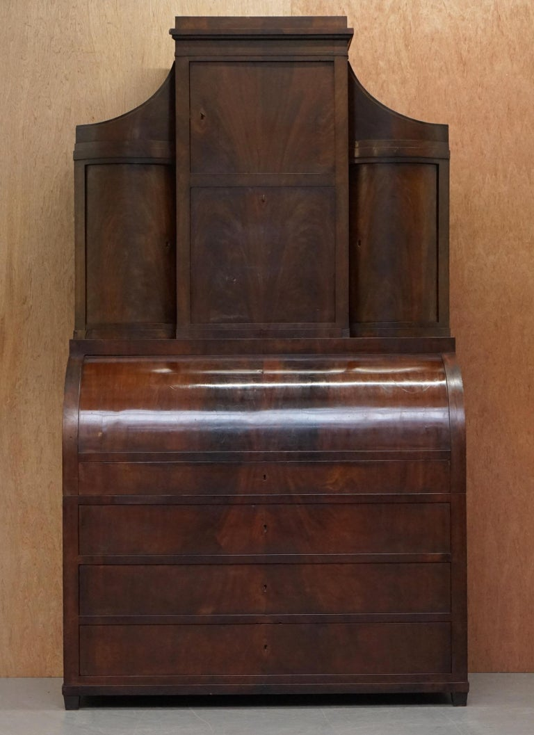 Regency Very Rare Italian Mahogany Cylinder Bureau Bookcase Desk with Must See Pictures For Sale