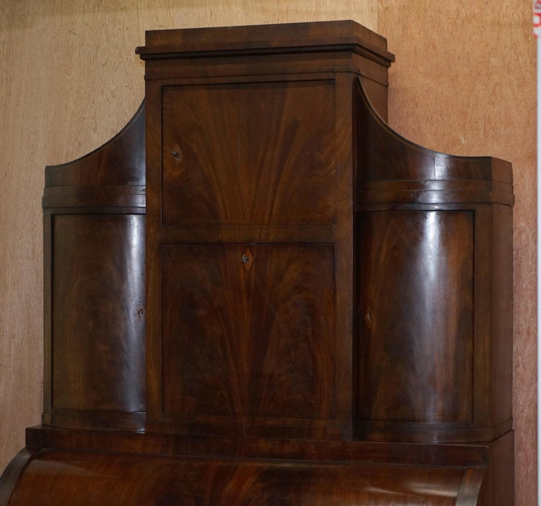 Hand-Crafted Very Rare Italian Mahogany Cylinder Bureau Bookcase Desk with Must See Pictures For Sale