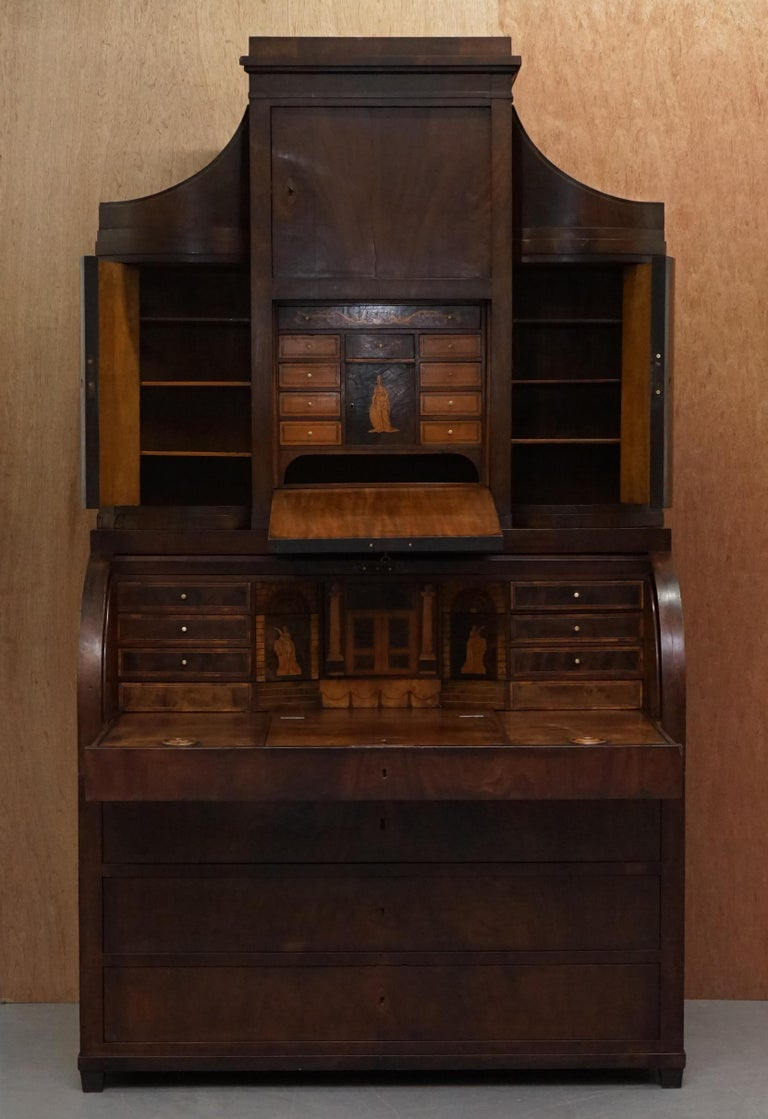 Early 19th Century Very Rare Italian Mahogany Cylinder Bureau Bookcase Desk with Must See Pictures For Sale