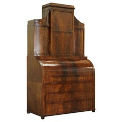 Very Rare Italian Mahogany Cylinder Bureau Bookcase Desk with Must See Pictures