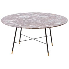 Very Rare Italian Round Marble Coffee Table by Ico Parisi, 1950s