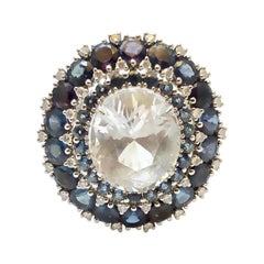 Very Rare Jeremejevite of 5.01 Carat and Alexandrites Ring