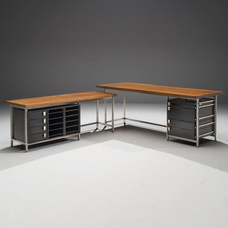 Very Rare Jules Wabbes Executive Corner Desk in Wenge For Sale 3