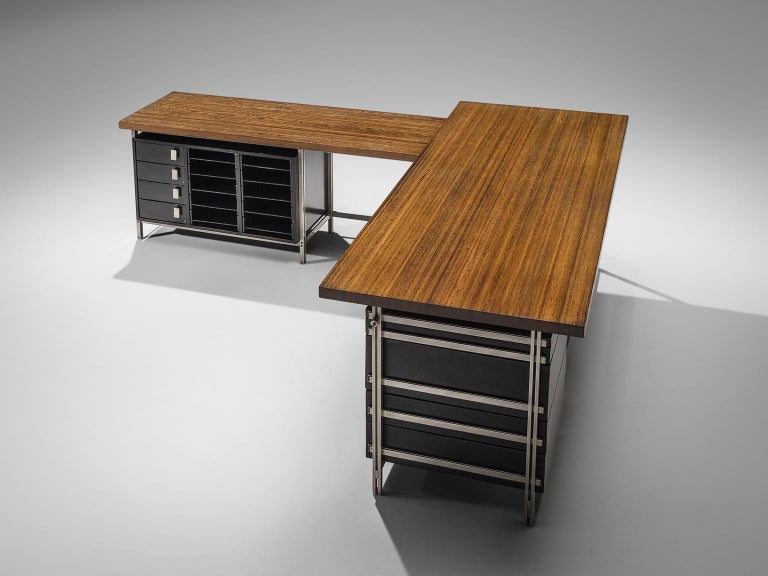 Jules Wabbes, writing desk with drawer pieces, wenge wood tabletop; chrome frame, drawers black, Belgium, 1960s