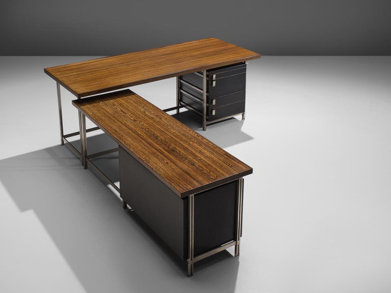 Mid-Century Modern Very Rare Jules Wabbes Executive Corner Desk in Wenge For Sale