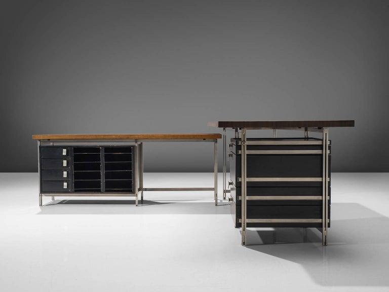 Belgian Very Rare Jules Wabbes Executive Corner Desk in Wenge For Sale