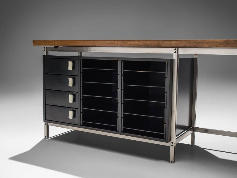 Mid-20th Century Very Rare Jules Wabbes Executive Corner Desk in Wenge For Sale