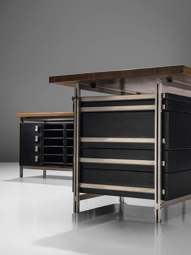 Steel Very Rare Jules Wabbes Executive Corner Desk in Wenge For Sale