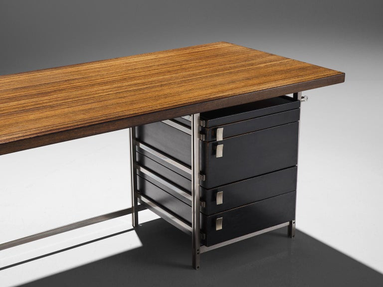 Very Rare Jules Wabbes Executive Corner Desk in Wenge For Sale 2