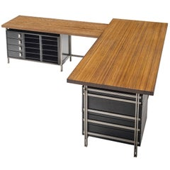 Very Rare Jules Wabbes Executive Corner Desk in Wenge
