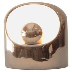 Very Rare Large Original 1970s Philips Venezia Ceramic Table Lamp in Silver SC3